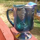 Vintage Iridescent Blue Carnival Indiana Glass Harvest Grape pitcher 64 oz