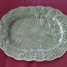 Bordallo Pinheiro green OVAL/OBLONG BASKETWEAVE FLORAL platter PORCELAIN