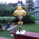 FENTON GLASS QUILTED AMBER HURRICANE STUDENT TABLE BRASS LAMP FINE MARBLE BASE