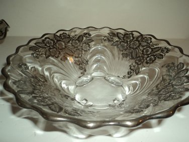 Antique Cambridge Glass Caprice Sterling Overlay Crystal scalloped serving bowl