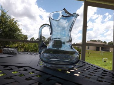 ELEGANT FENTON Glass IRIDESCENT BLUE Pitcher Reeded Handle *MINT 48 ozs