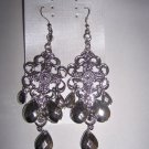 Swirl & Faceted Teardrop Bead Chandelier Earrings - Silvertone & Crystals
