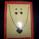 Black Heart Pendant Necklace & 2 Pair Earrings Set - Gold