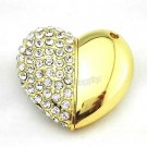 16GB Gold Pendrive Metal Love Heart Gift Idea Crystal USB Flash drive Memory Thumb Stick lM136