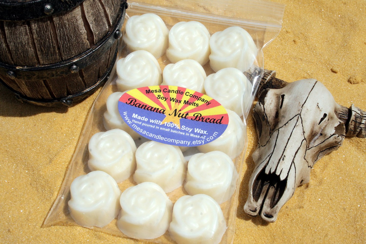 "Banana Nut Bread Scented Soy Wax Melts ""Desert Rose"" Style"