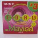 3-Pack Sony 3MCRW-156A Mavica Unformatted Rewritable CD-RW Brand New