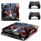 Captai america decal for PS4 PlayStation 4 console and 2 controllers