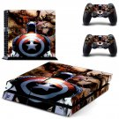 Capatin America decal for PS4 PlayStation 4 console and 2 controllers