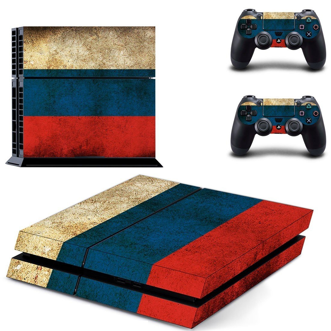 tri color wall ps4 skin decal for console and controllers