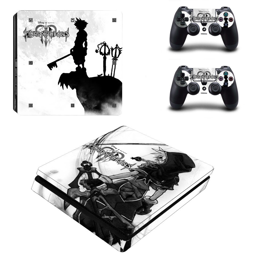 Kindom hearts Play Station 4 slim skin decal for console and 2 controllers