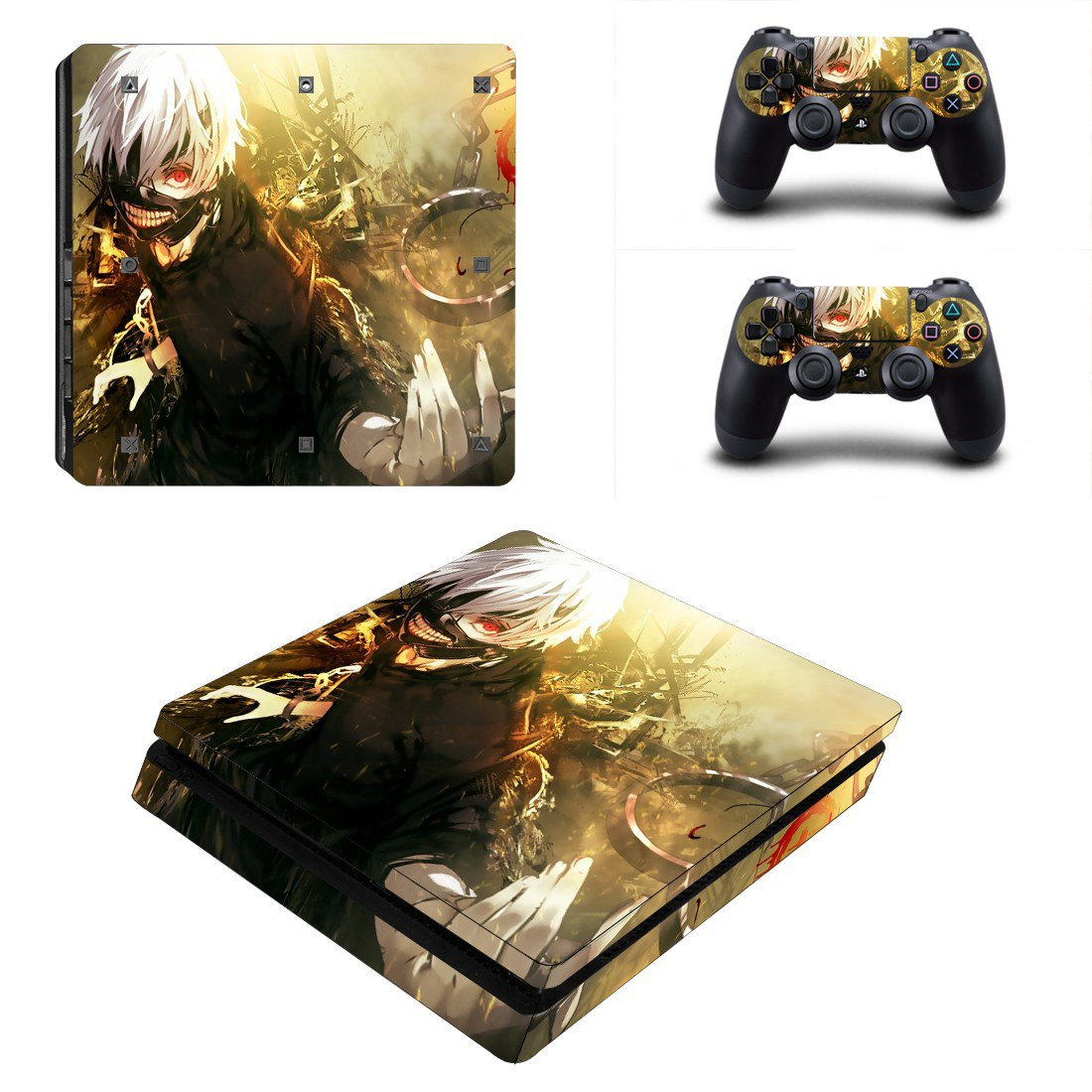 Tokyo Ghoul Play Station 4 slim skin decal for console and 2 controllers