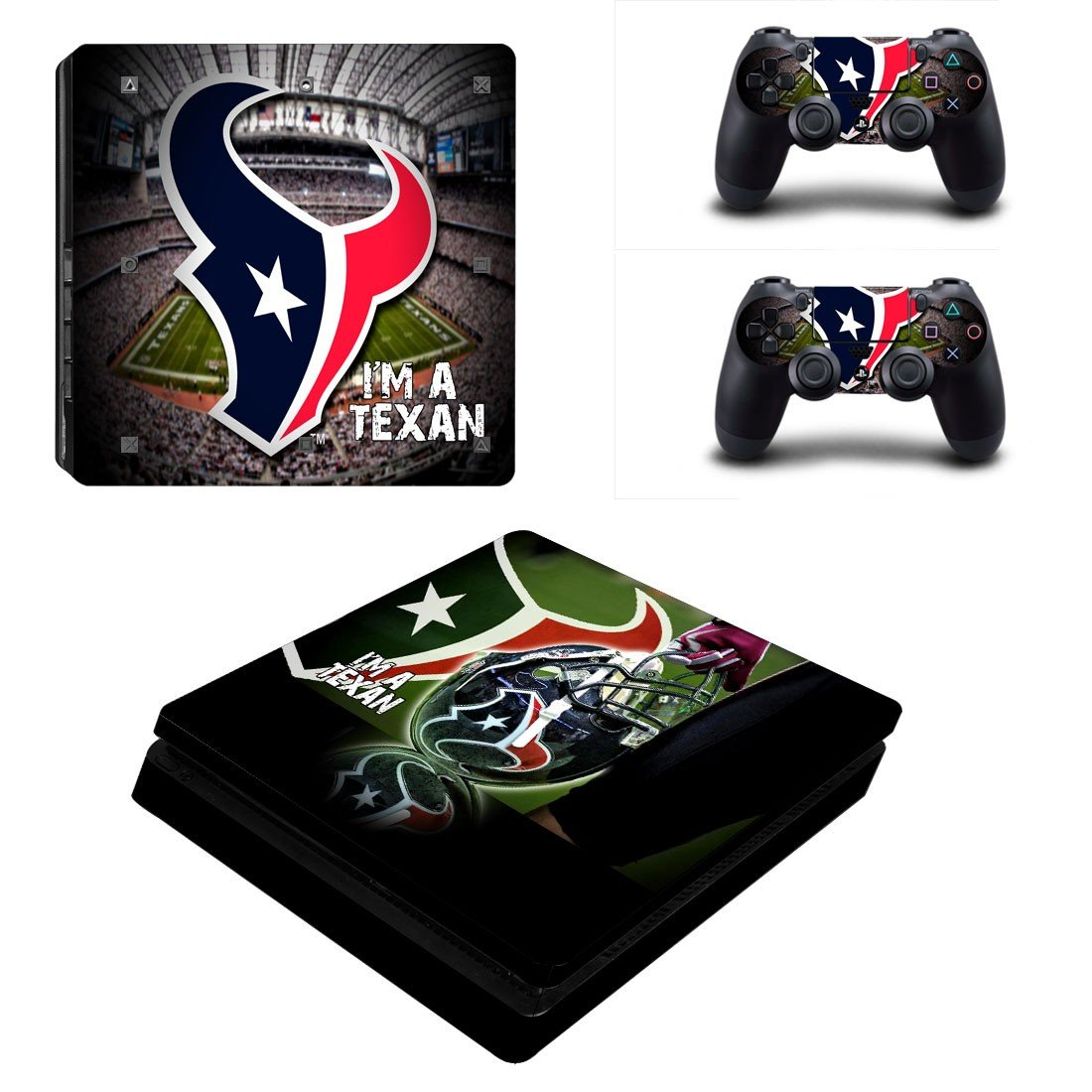 Houston Texans Play Station 4 slim skin decal for console and 2 controllers