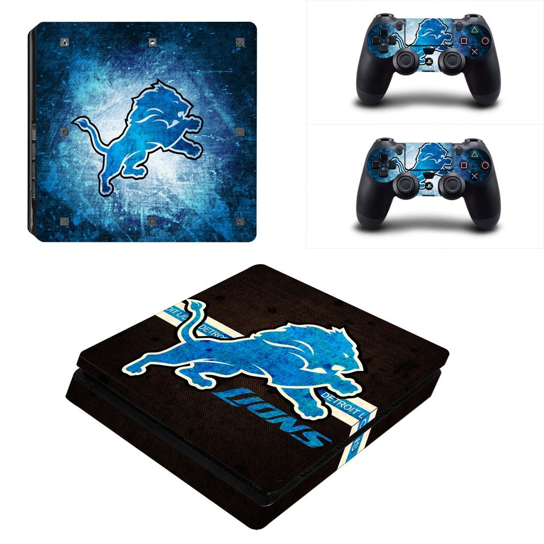 Detroit Lions Play Station 4 slim skin decal for console and 2 controllers