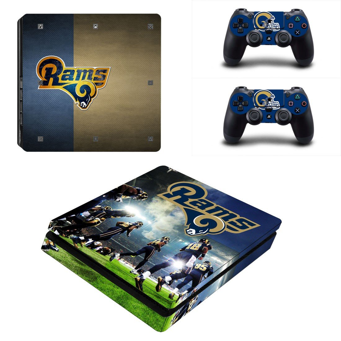 Los Angeles Rams Play Station 4 slim skin decal for console and 2 controllers
