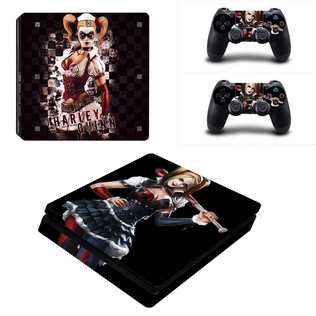 Harley Quin Play Station 4 slim skin decal for console and 2 controllers