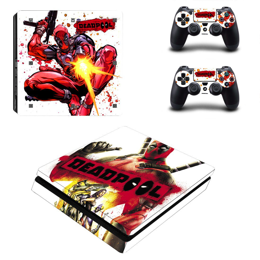 Deadpool Play Station 4 slim skin decal for console and 2 controllers