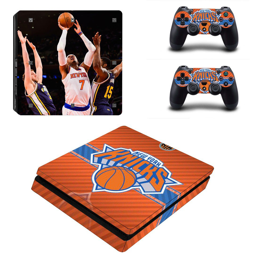 New York Knicks Play Station 4 slim skin decal for console and 2 controllers