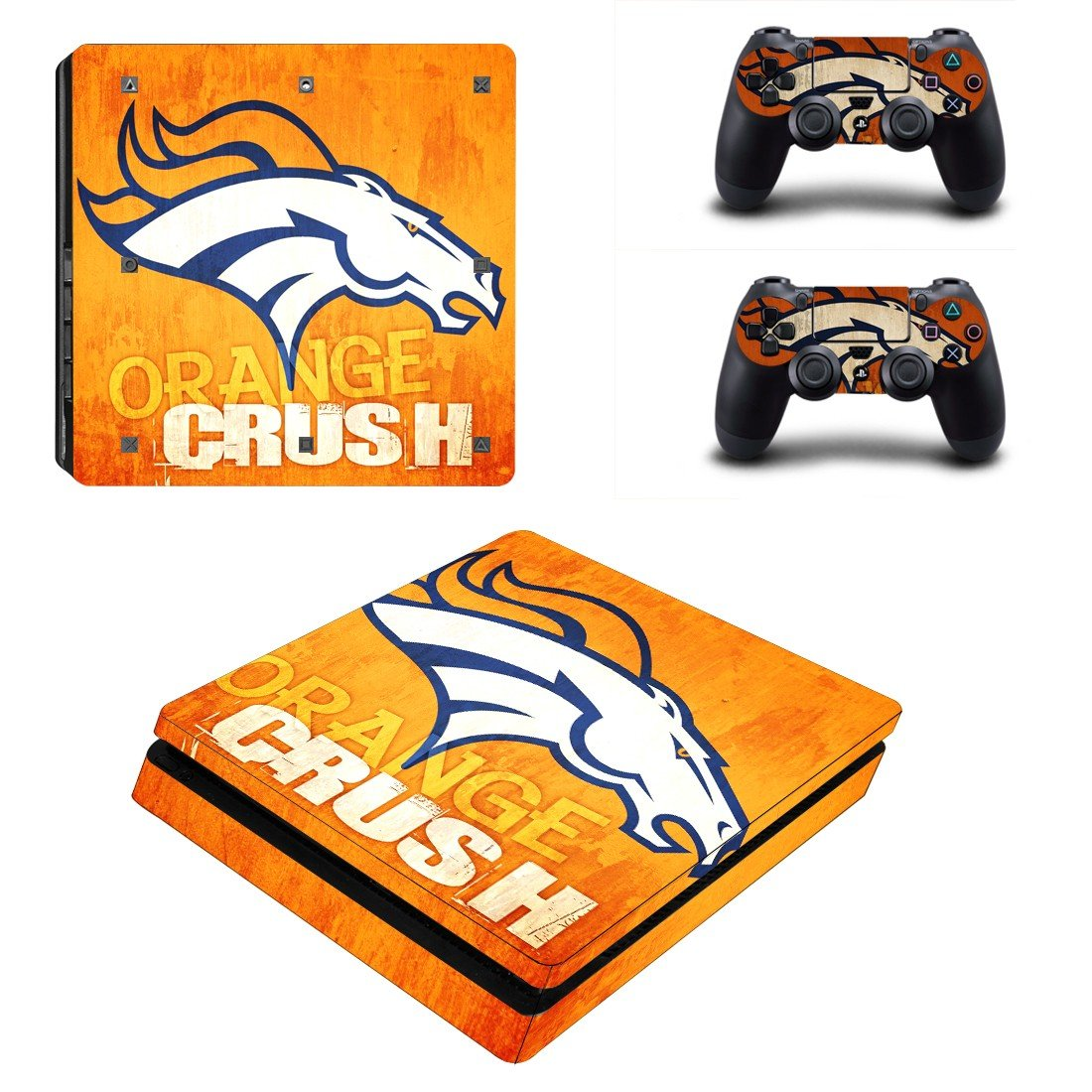 Denver Broncos Play Station 4 slim skin decal for console and 2 controllers