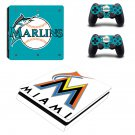Miami Marlins Play Station 4 slim skin decal for console and 2 controllers