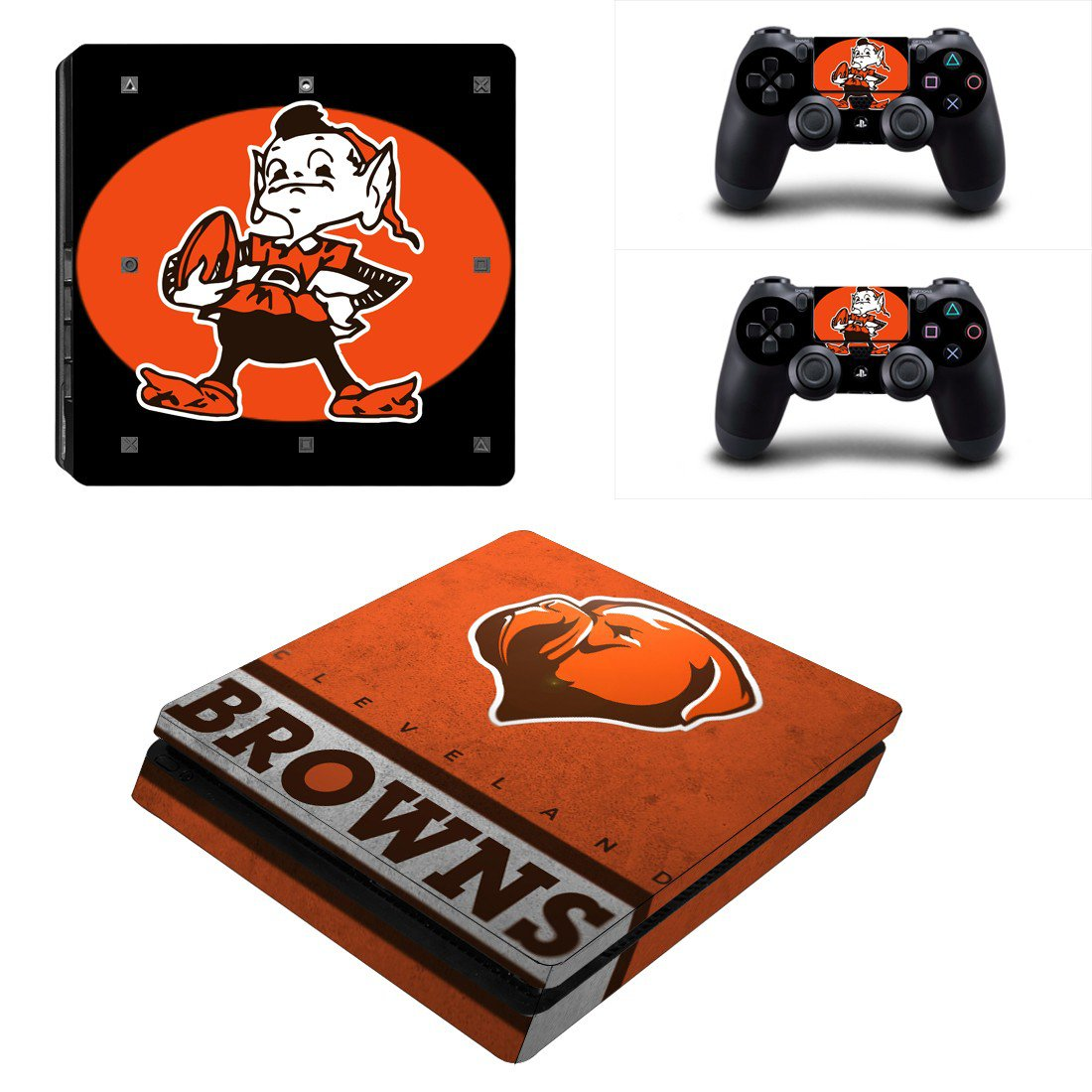 Cleveland Browns Play Station 4 slim skin decal for console and 2 controllers