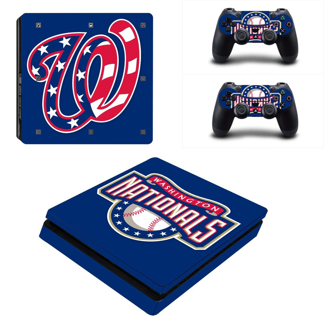 Washington Nationals Play Station 4 slim skin decal for console and 2 controllers