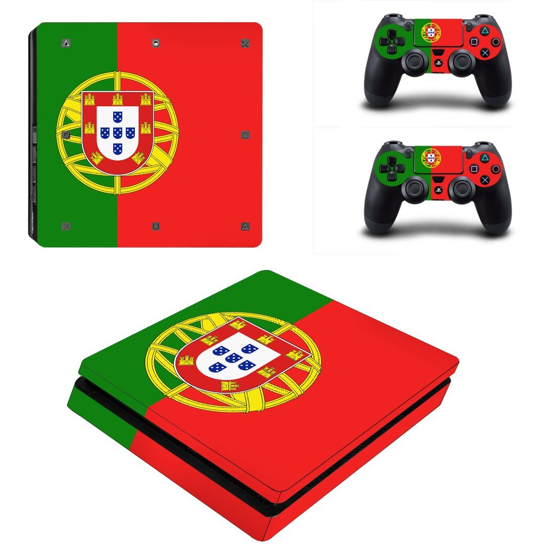 Flag of Portugal  Play Station 4 slim skin decal for console and 2 controllers