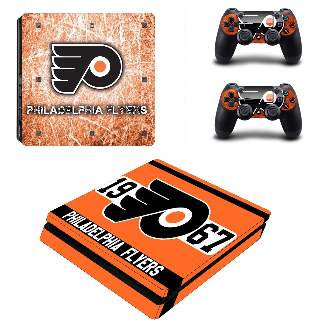 Philadelphia Flyers Play Station 4 slim skin decal for console and 2 controllers