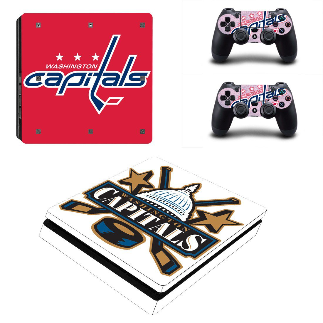 Washington Capitals Play Station 4 slim skin decal for console and 2 controllers