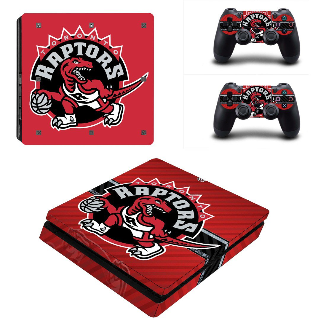 Toronto Raptors Play Station 4 slim skin decal for console and 2 controllers