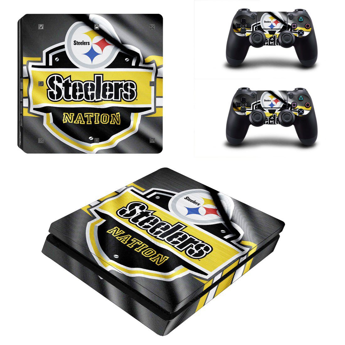 Pittsburgh Steelers Play Station 4 slim skin decal for console and 2 controllers