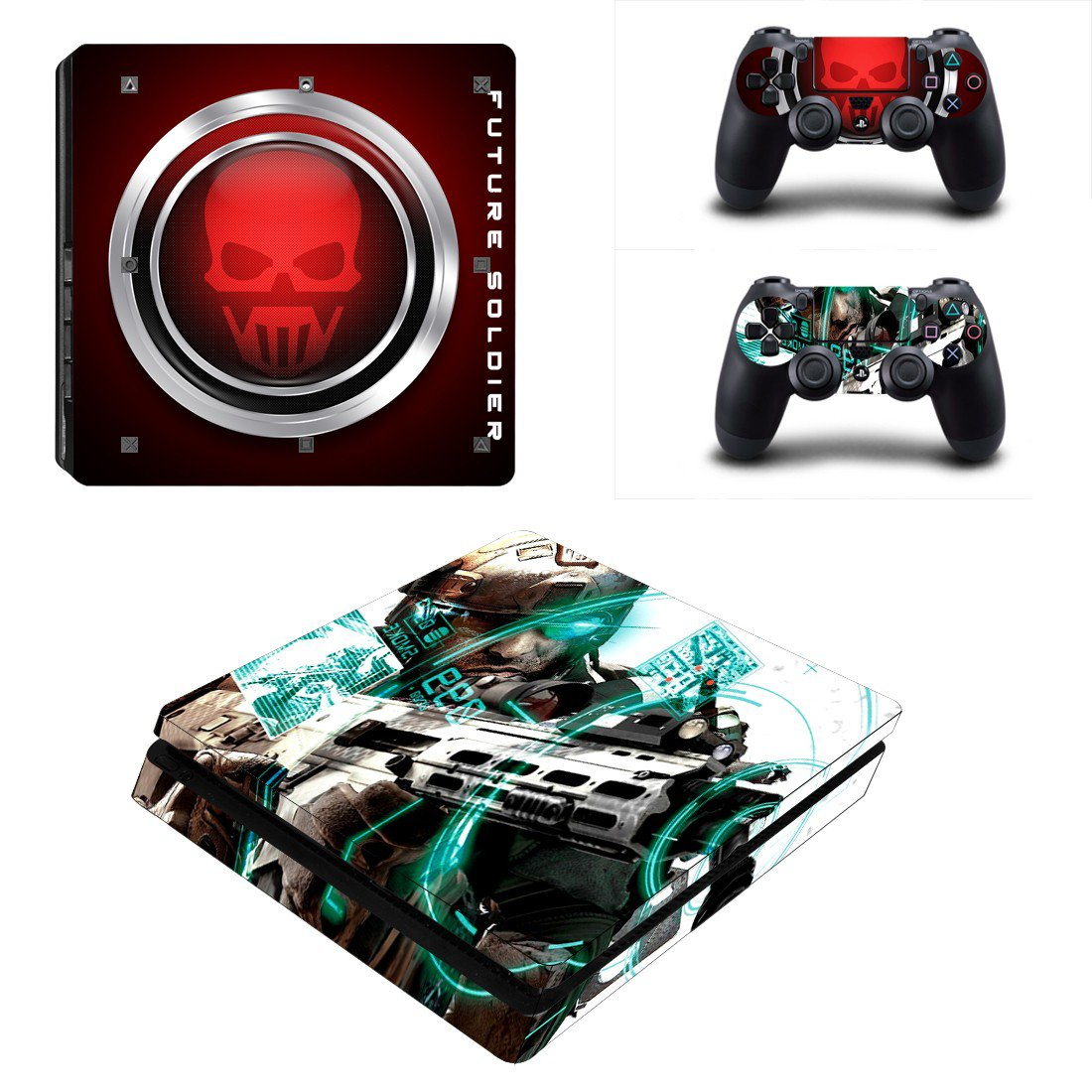 Future Soldiers Play Station 4 slim skin decal for console and 2 controllers