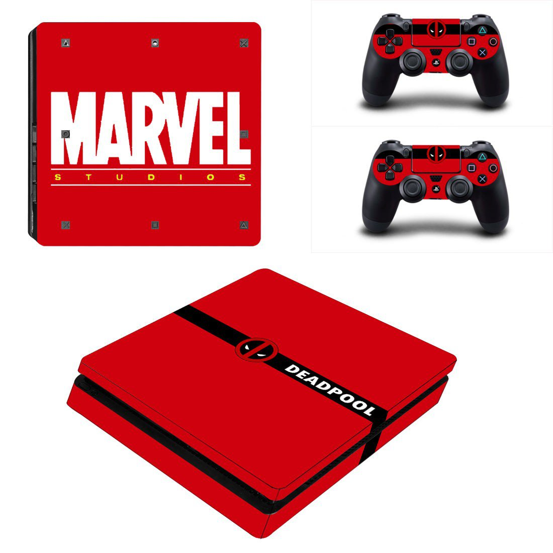 Marvel Studios and Deadpool Play Station 4 slim skin decal for console and 2 controllers