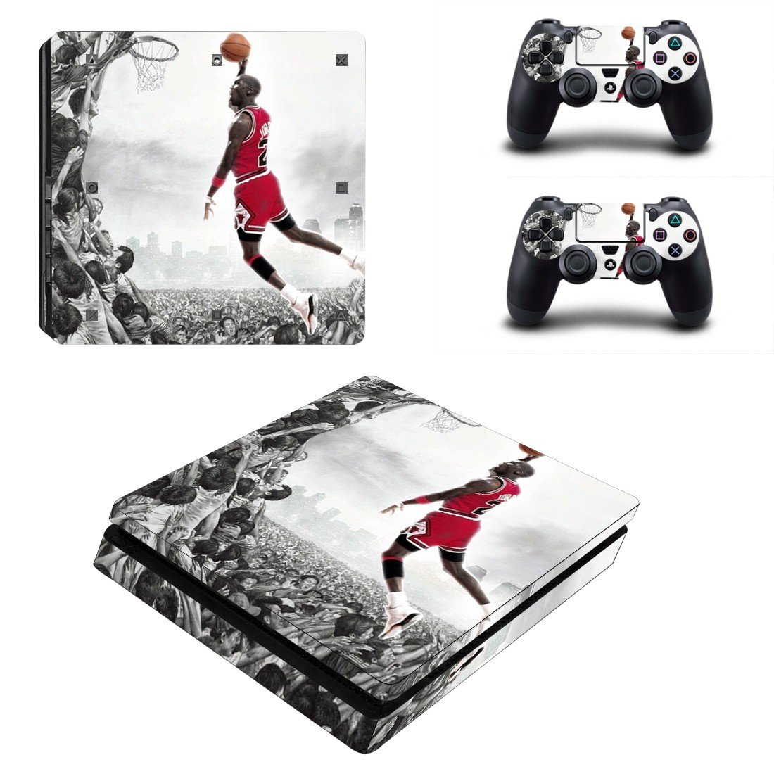Michael jordan Play Station 4 slim skin decal for console and 2 controllers
