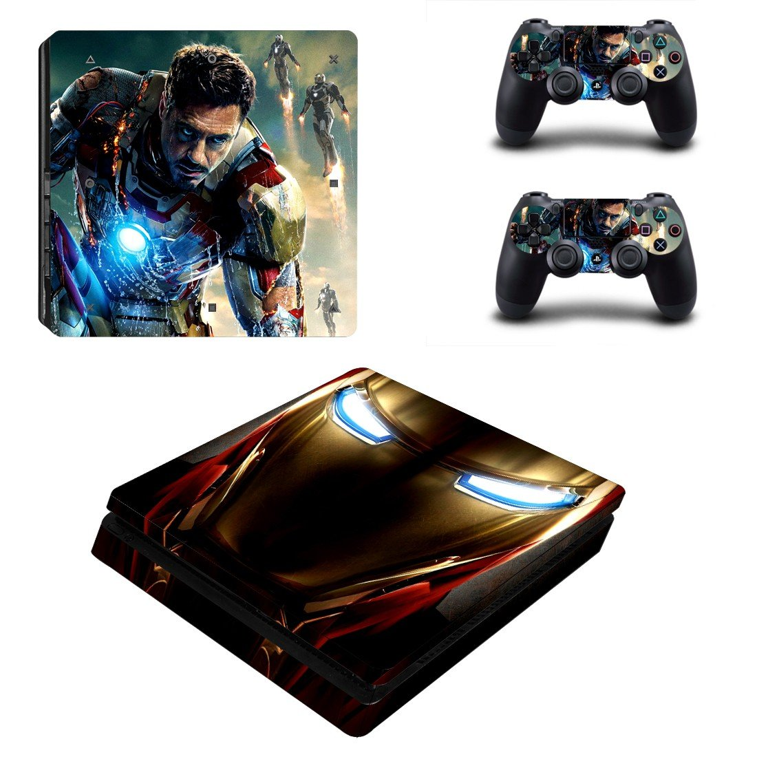 Ironman Play Station 4 slim skin decal for console and 2 controllers