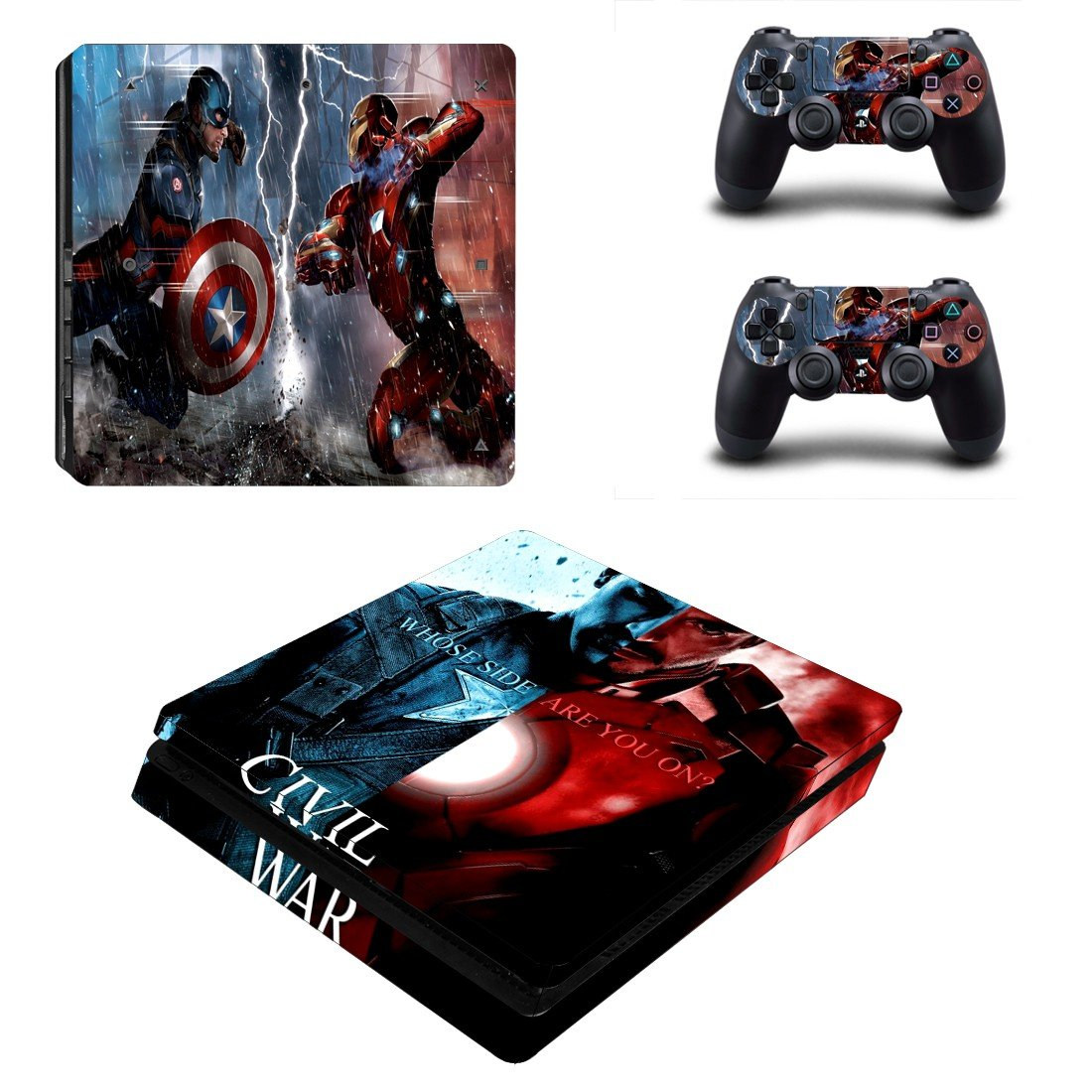 Captain America Civil war Play Station 4 slim skin decal for console and 2 controllers