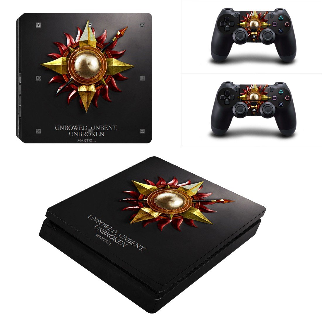 unbowed unbent unbroken Play Station 4 slim skin decal for console and 2 controllers