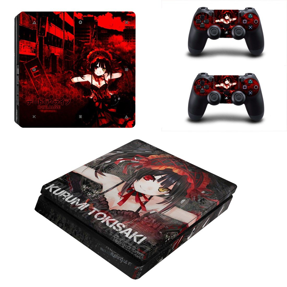 Kurumi tokisaki Play Station 4 slim skin decal for console and 2 controllers
