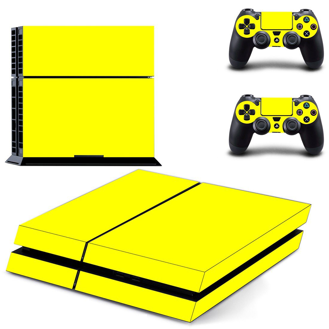 Yellow Color ps4 skin decal for console and controllers