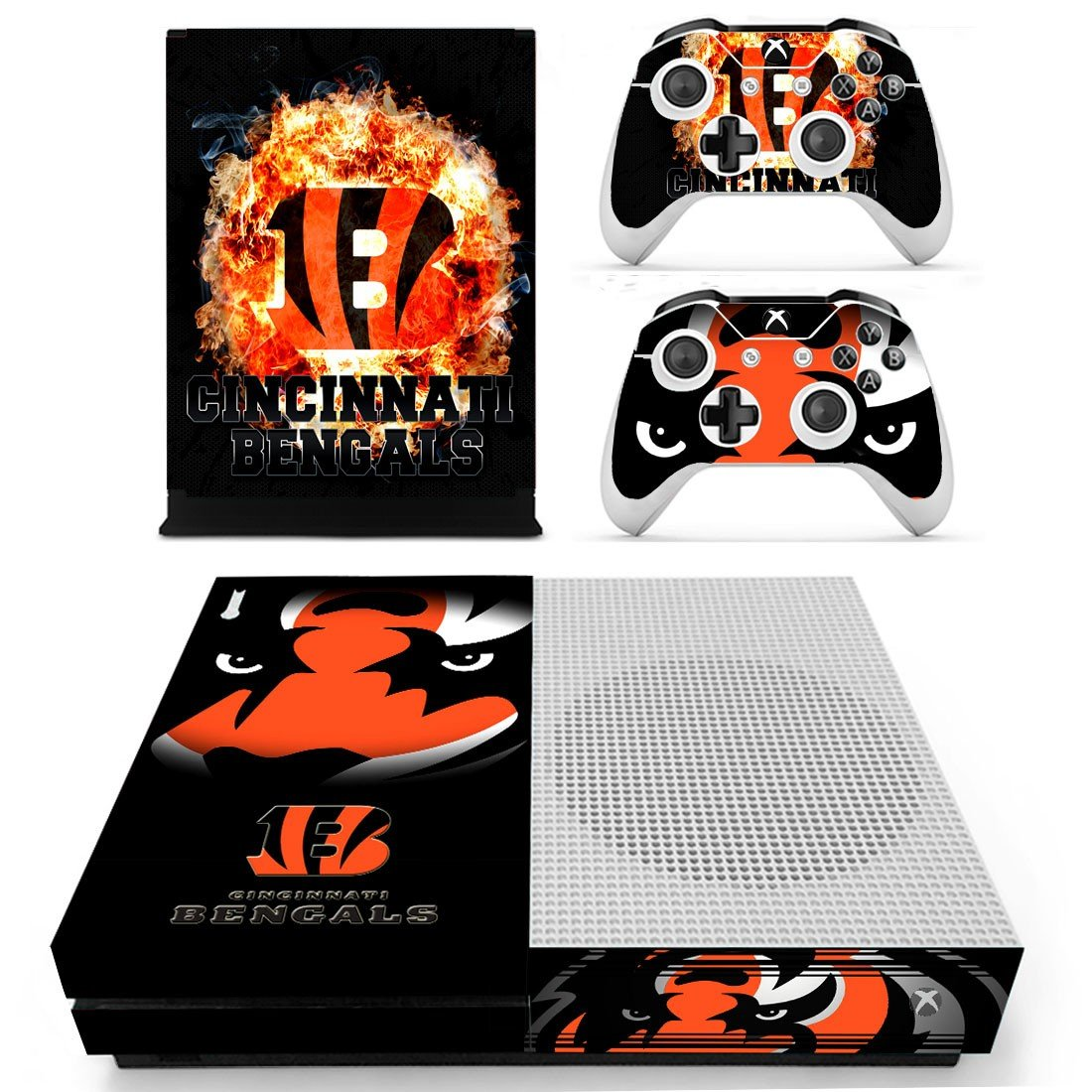 Cincinnati Bengals skin decal for Xbox one S console and controllers