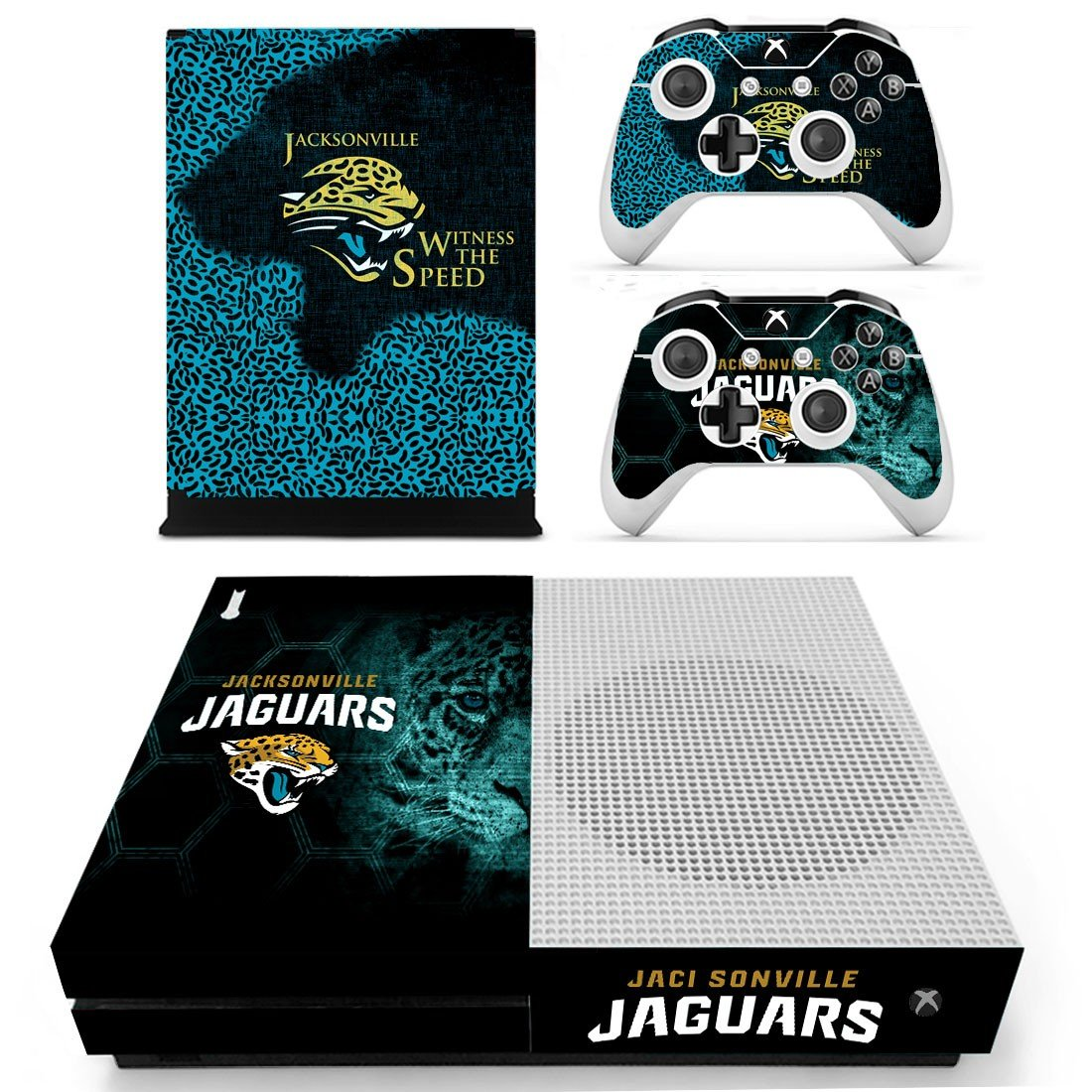 Jacksonville Jaguars skin decal for Xbox one S console and controllers