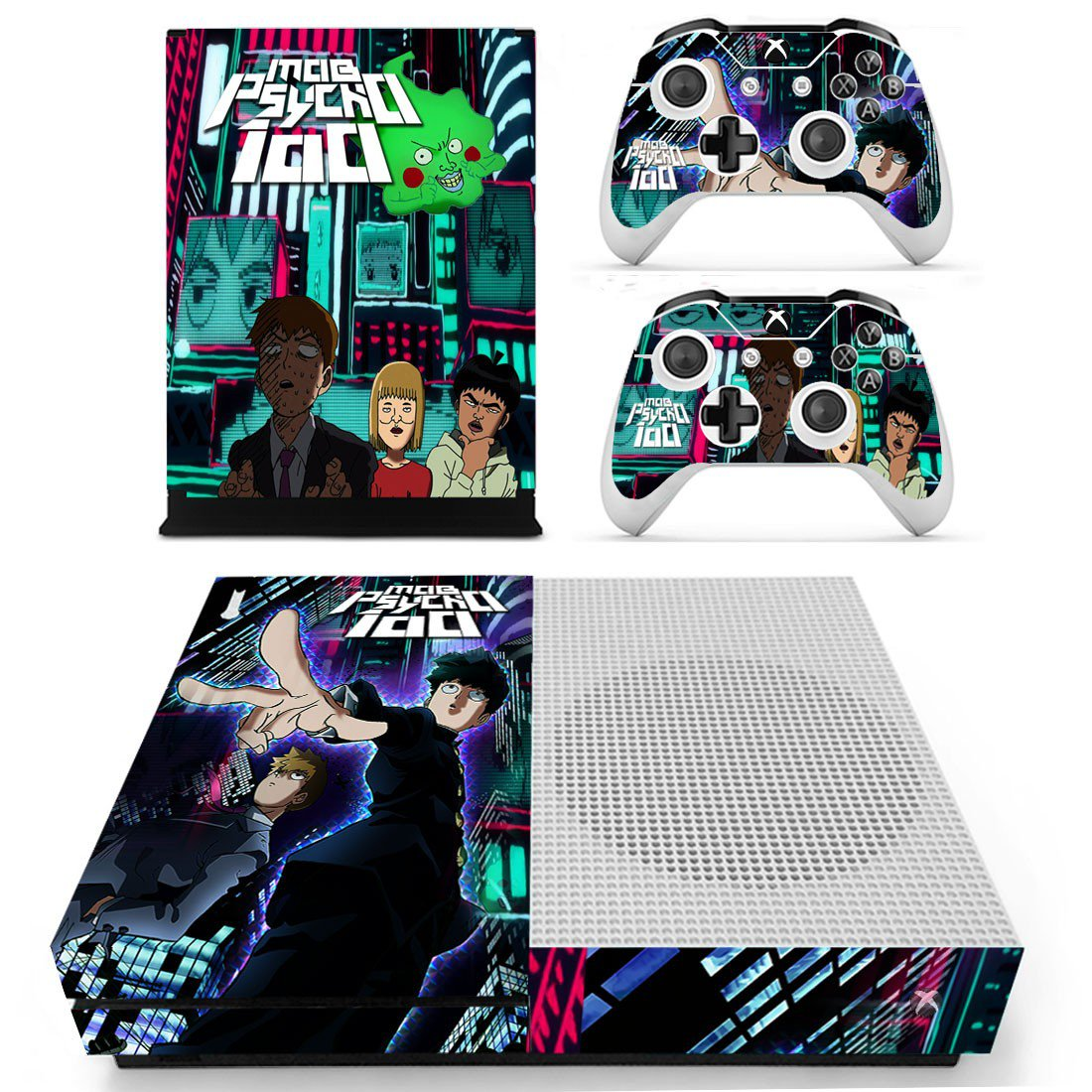 Mob Phycho 100 skin decal for Xbox one S console and controllers