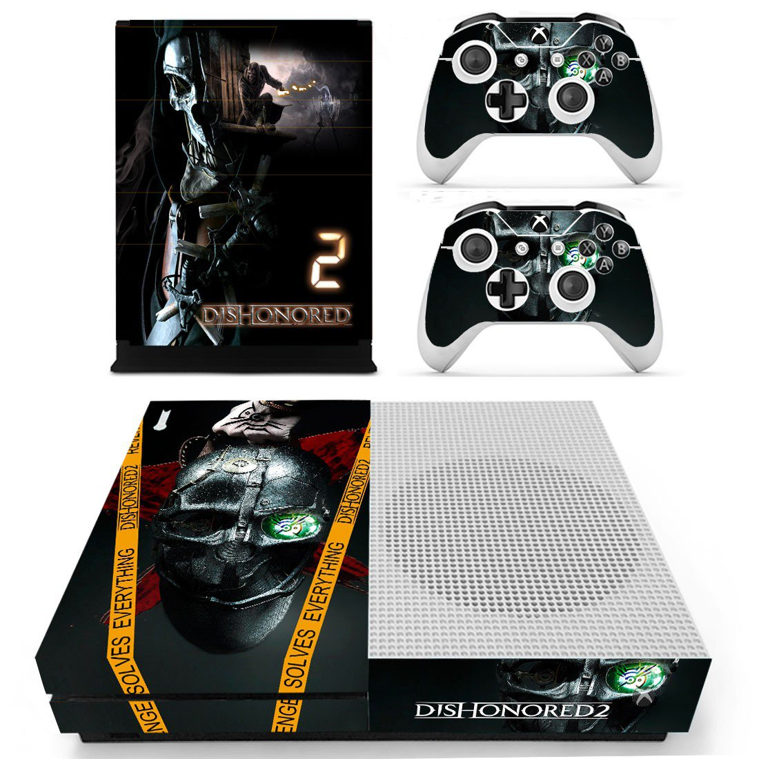 Dishonored2 skin decal for Xbox one S console and controllers