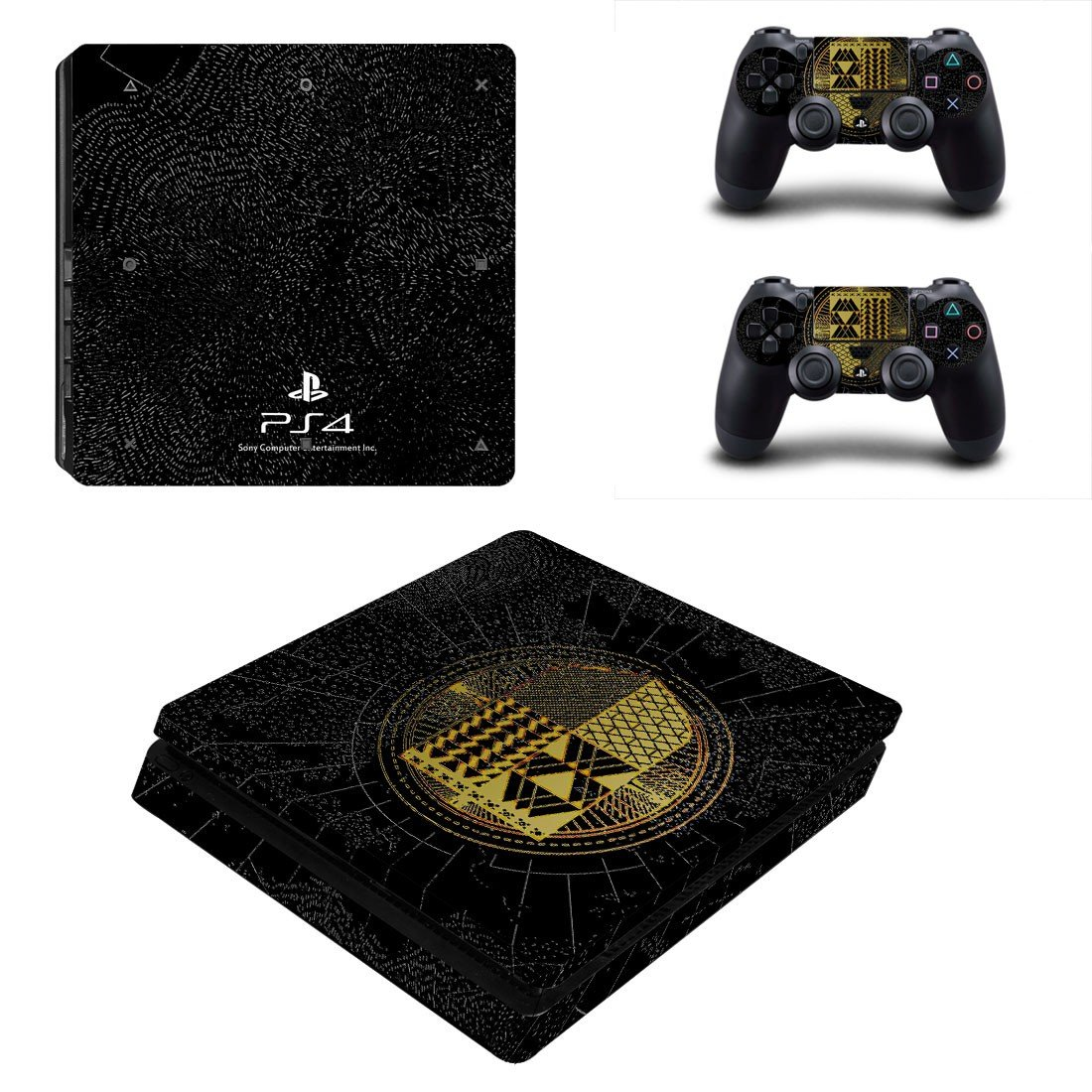 Animated Square pattern Play Station 4 slim skin decal for console and 2 controllers