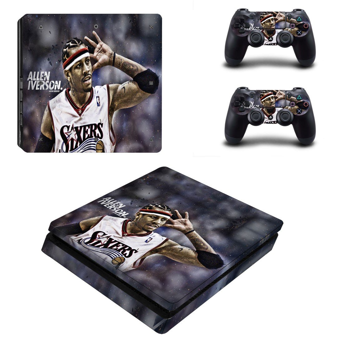 Philadelphia 76ers Play Station 4 slim skin decal for console and 2 controllers