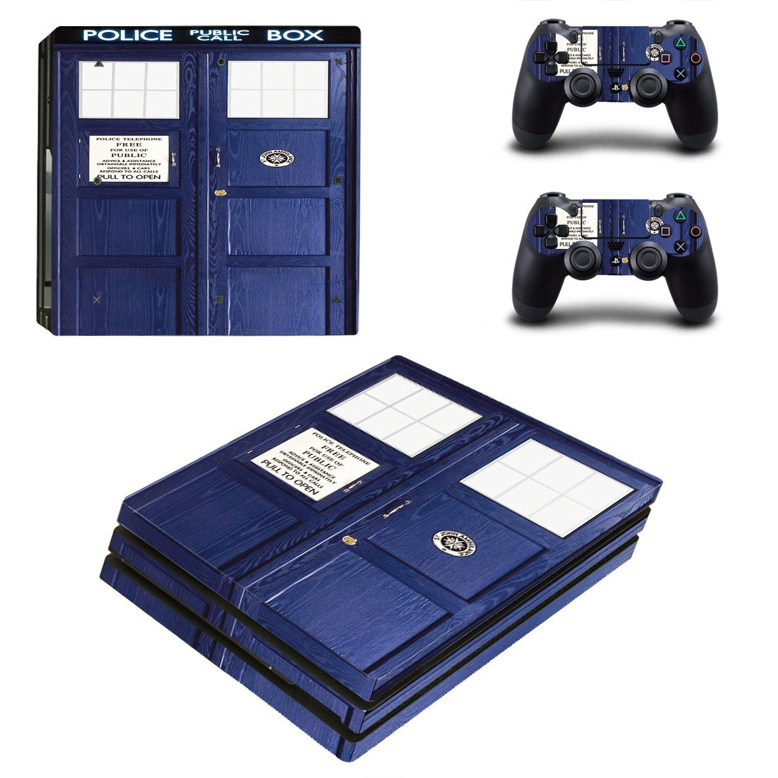 Police Public Call Box ps4 pro skin decal for console and controllers