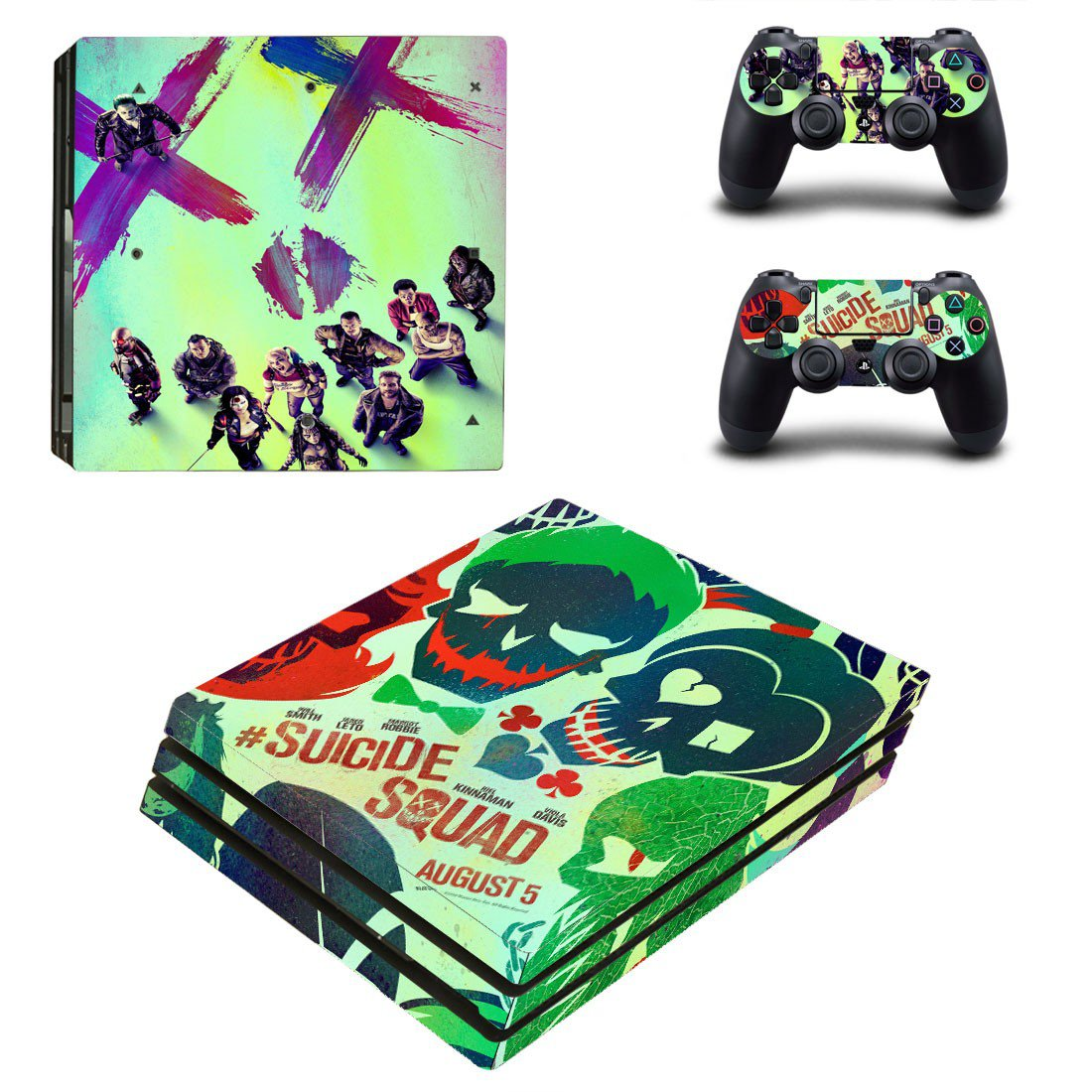 Suicide Squad ps4 pro skin decal for console and controllers