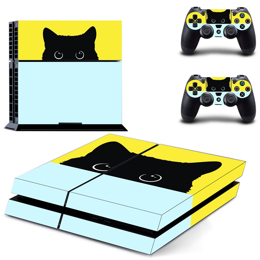 Black Cat skin decal for PS4 PlayStation 4 console and 2 controllers