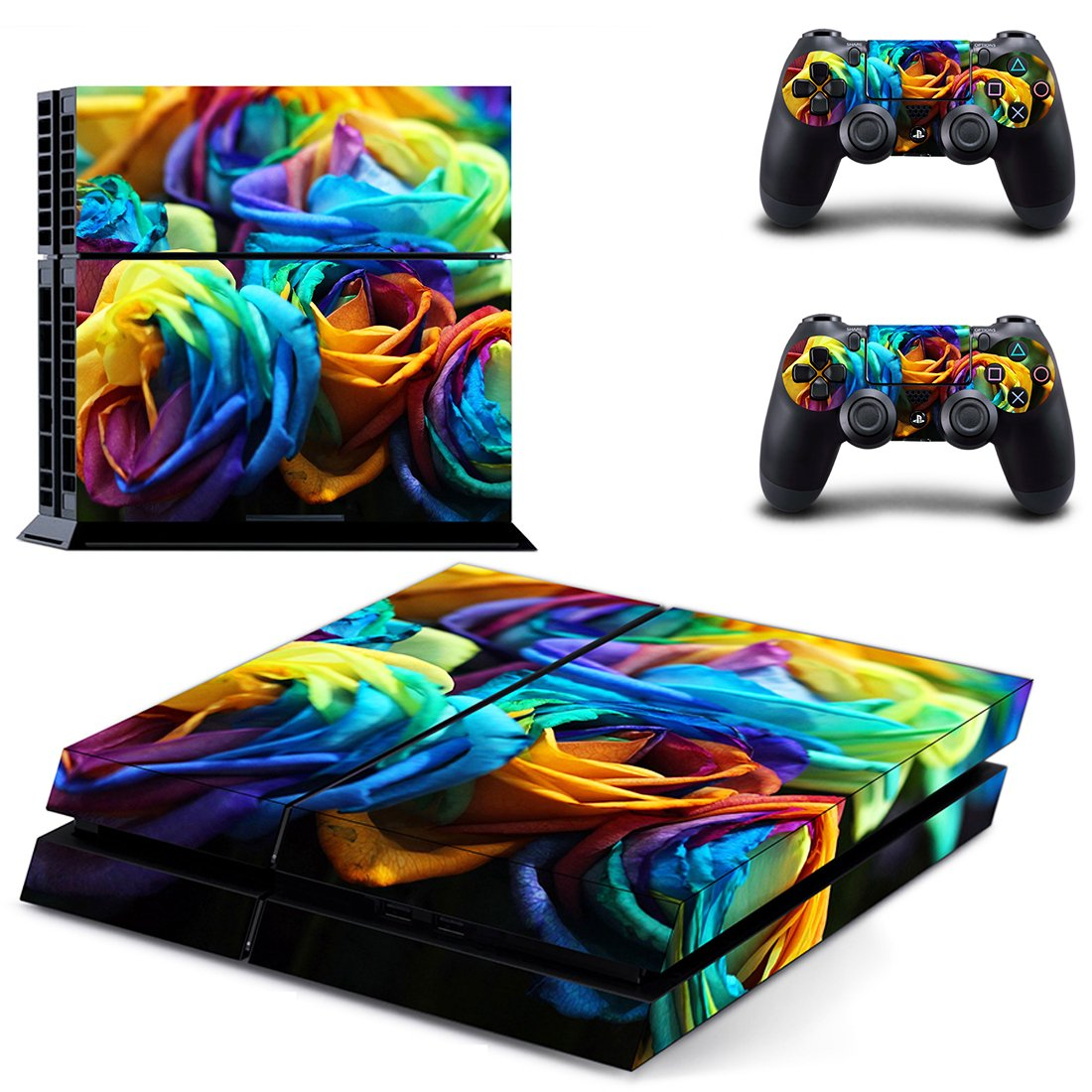 Colorful Flower  skin decal for PS4 PlayStation 4 console and 2 controllers