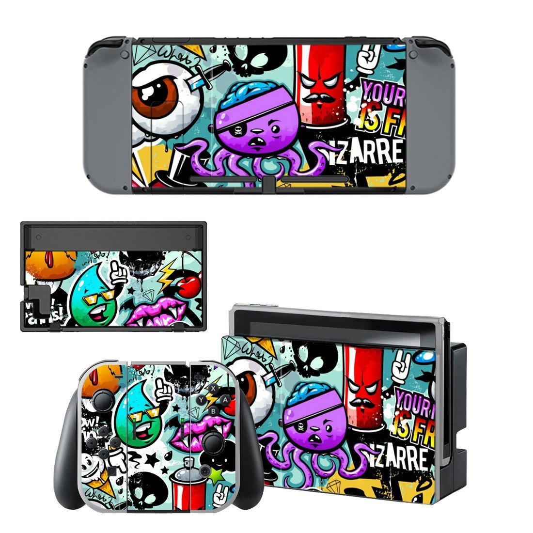 Animated octopus decal for Nintendo switch console sticker skin