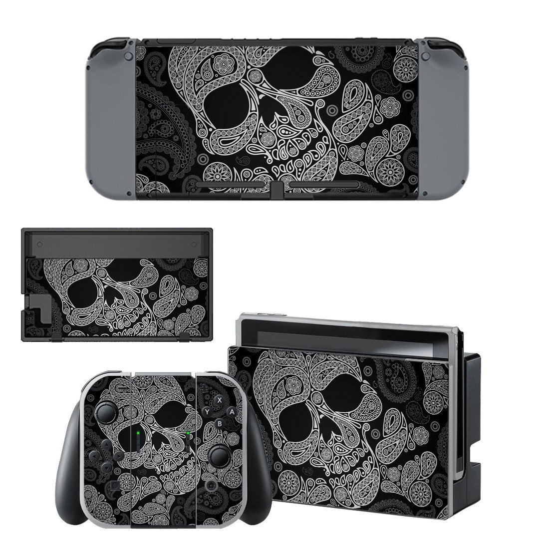 Floral skull decal for Nintendo switch console sticker skin